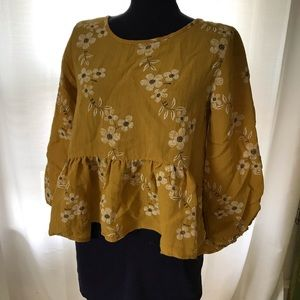Tops - Yellow floral peplum top small